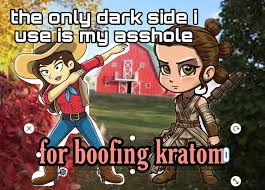 A meme with a cowgirl dabbing at the prospect of boofing kratom.
