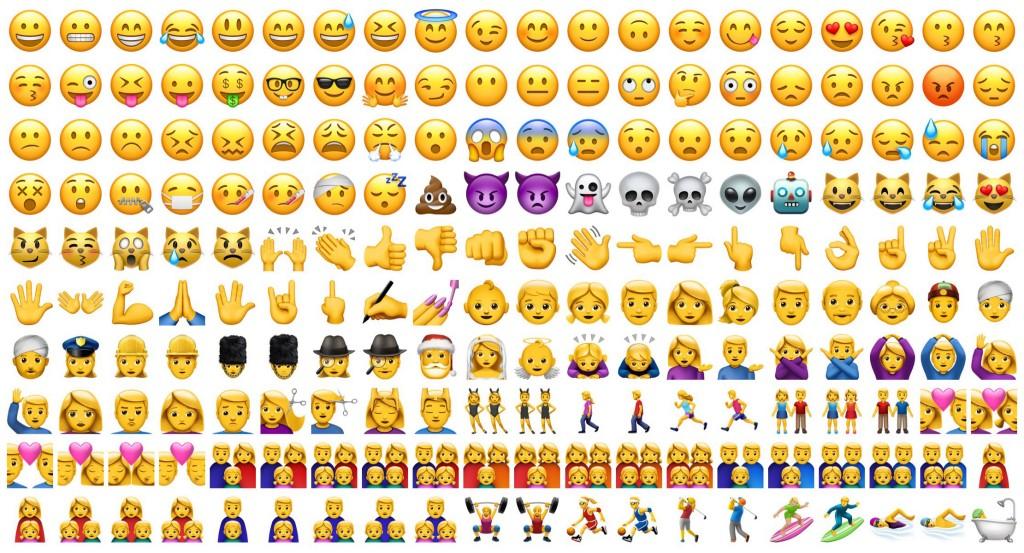 A screenshot of the iPhone's coveted emoji keyboard.