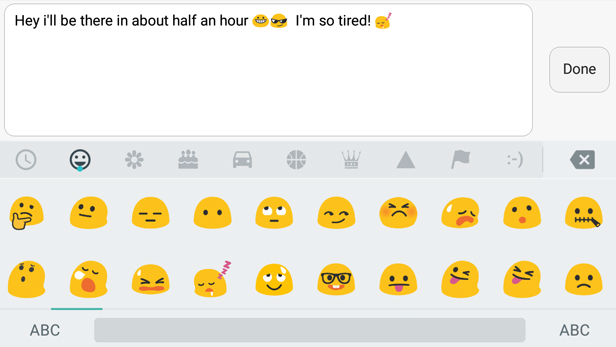 A screenshot of someone using emojis in a sentence.