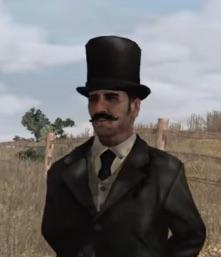 Strange man in a top hat.