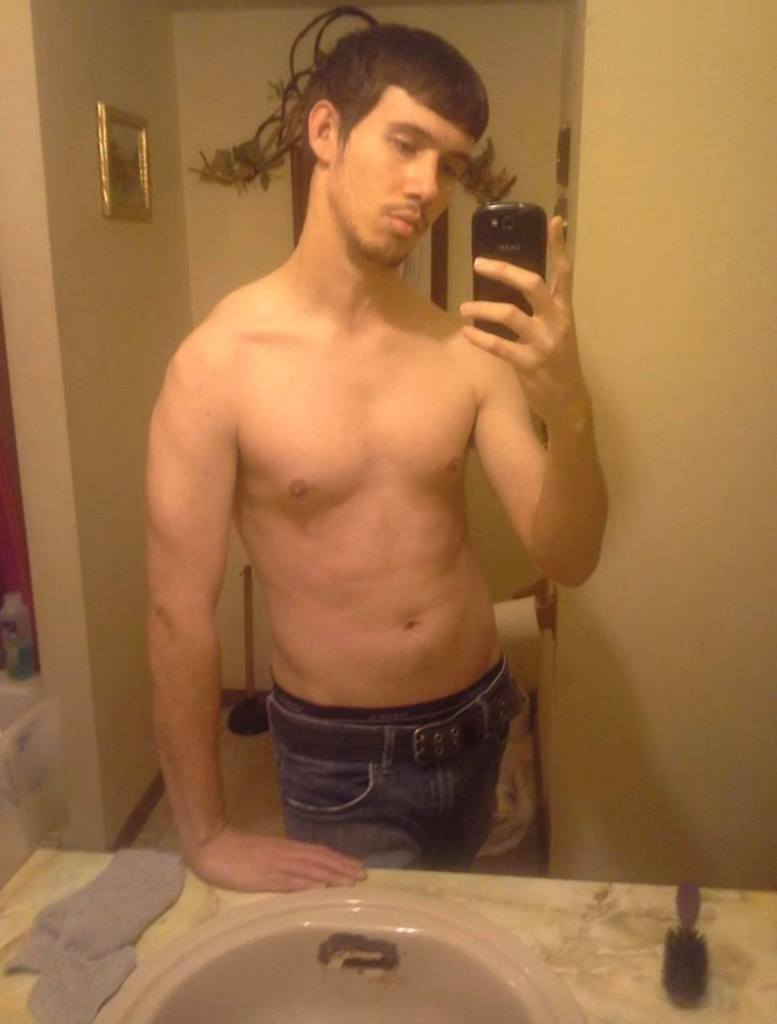 Shirtless Chad in the mirror