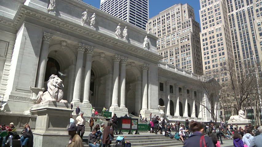 Steps to the New York Public Library.